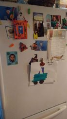 The face of the fridge. Filled with pictures, reminders, and eclectic magnets. Drawings from preschool and dates to be saved. Tokens from past adventures and favorite holidays. The first thing we see when our stomachs are growling and sleepy eyes glaze over as we reach in for the baby's bottle at midnight. The centerpiece of the kitchen, where our family gathers for nightly meals. The pieces may change from year to year but the front door of the fridge will remain a display of our dreams, past and the love we share.