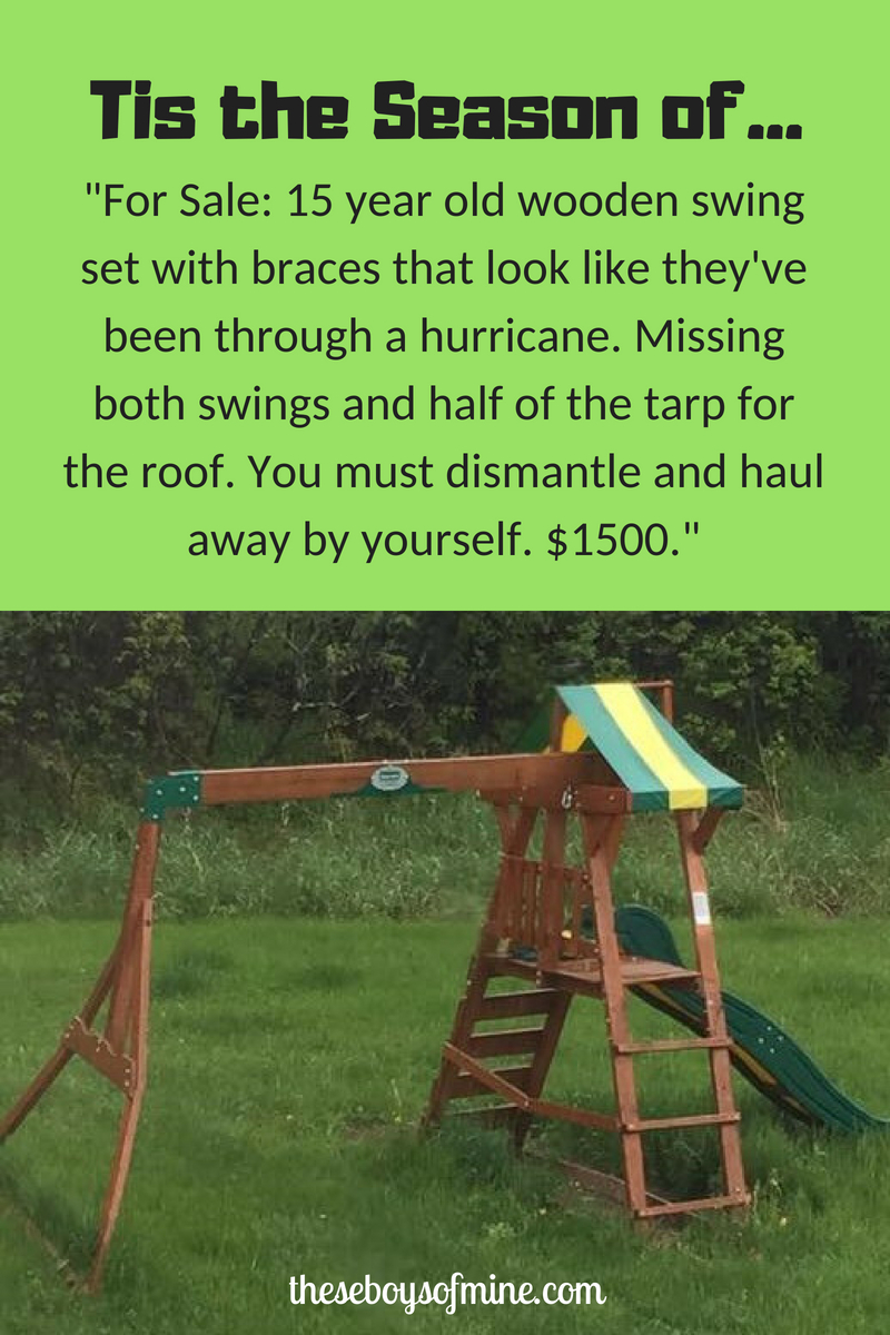 For Sale 15 Year Old Wooden Swing Set With Braces That Look Like